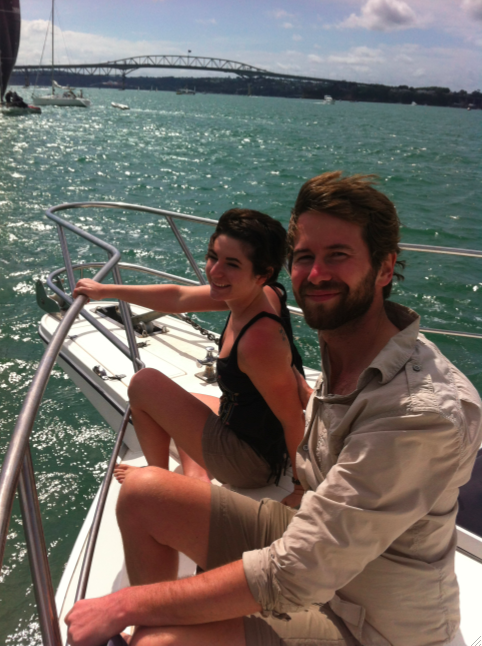 Tanner and Lauren on the yacht, not quite Titanic style!