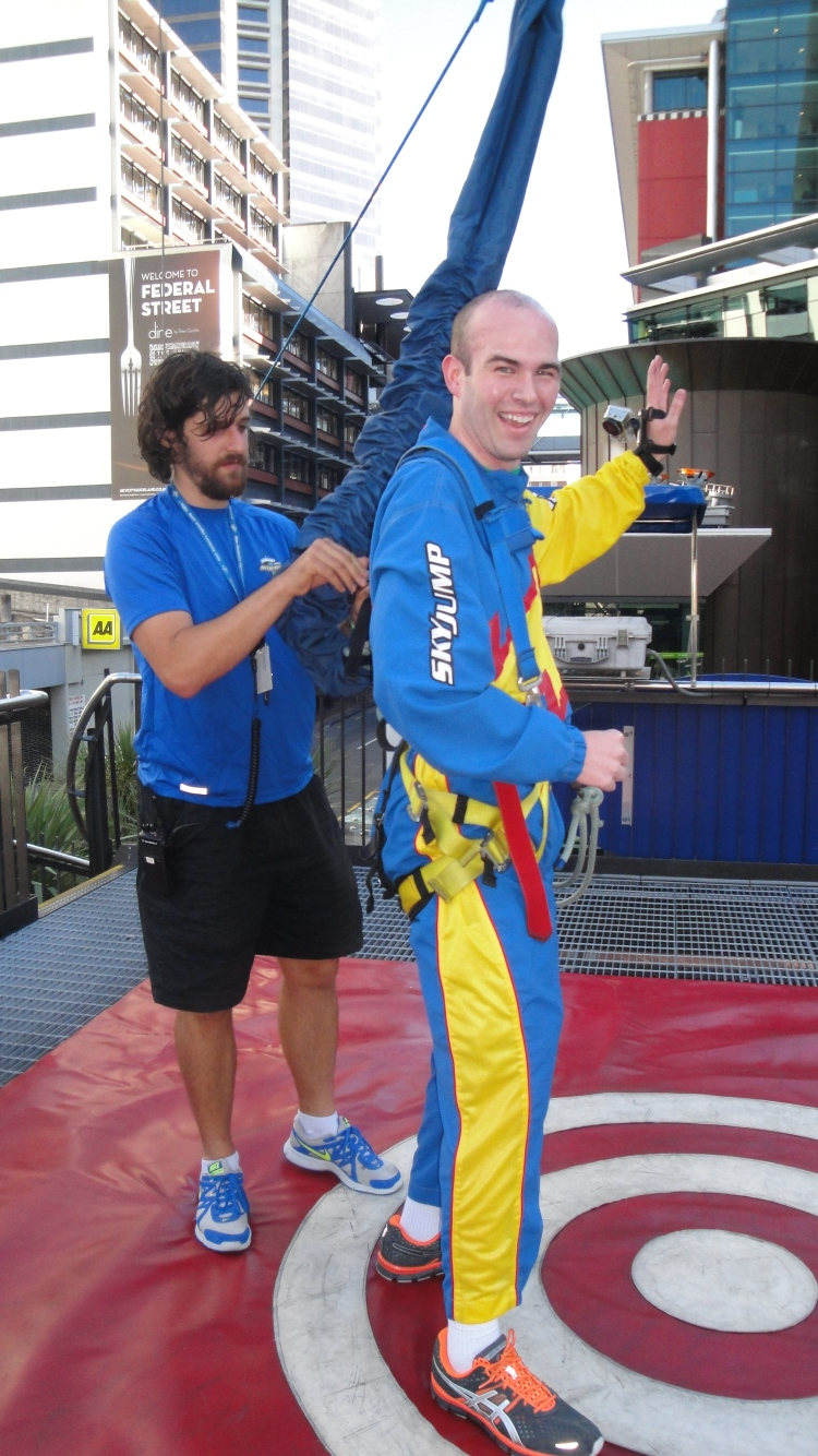 Charlie just after he bungee jumped off of the Sky Tower!