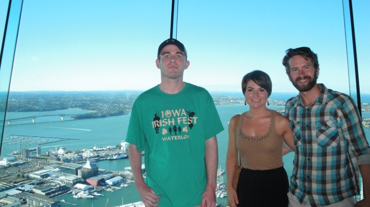 Charlie, Lauren and I atop the Sky Tower