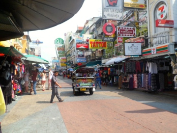 Kao San Rd is a backpackers paradise, hence all the cheap shops and eager to scam Tuk Tuk drivers.